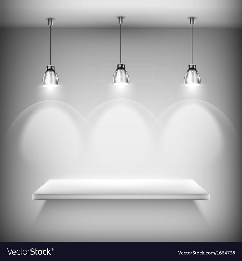 White empty shelf illuminated by spotlights vector | Price: 1 Credit (USD $1)