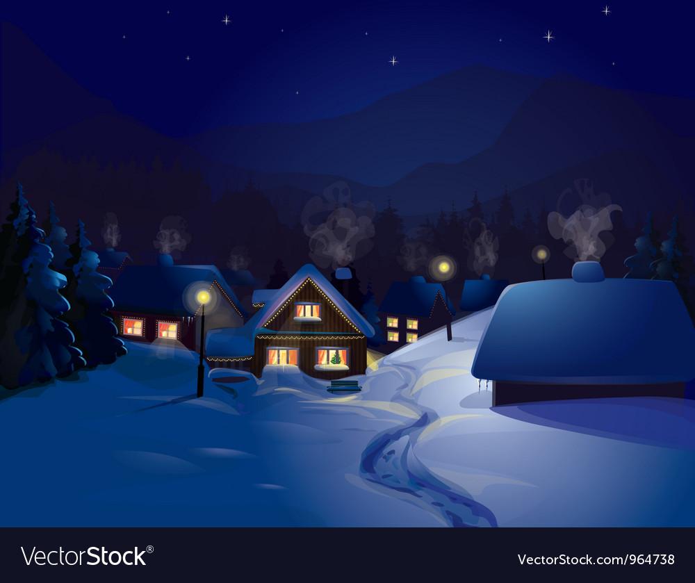 Winter landscape vector | Price: 5 Credit (USD $5)