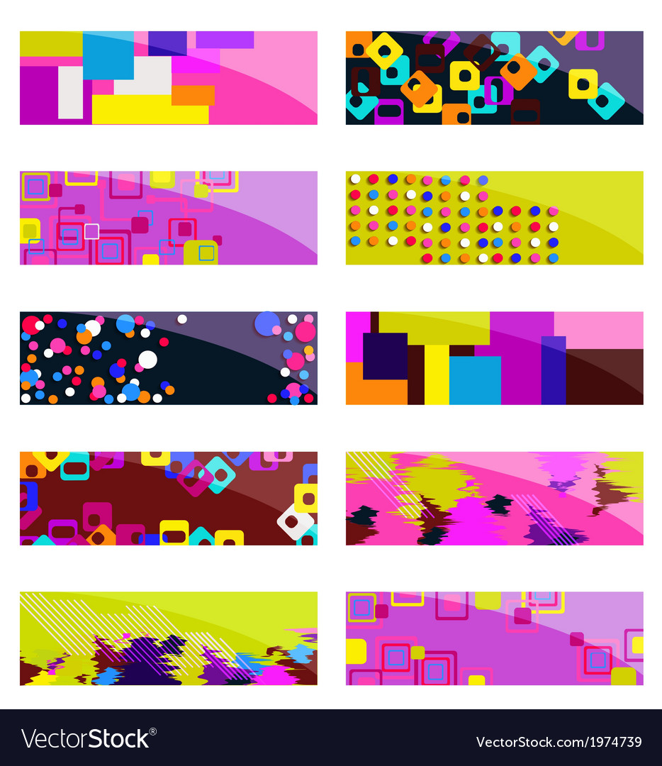 Abstract colorful header set design vector | Price: 1 Credit (USD $1)