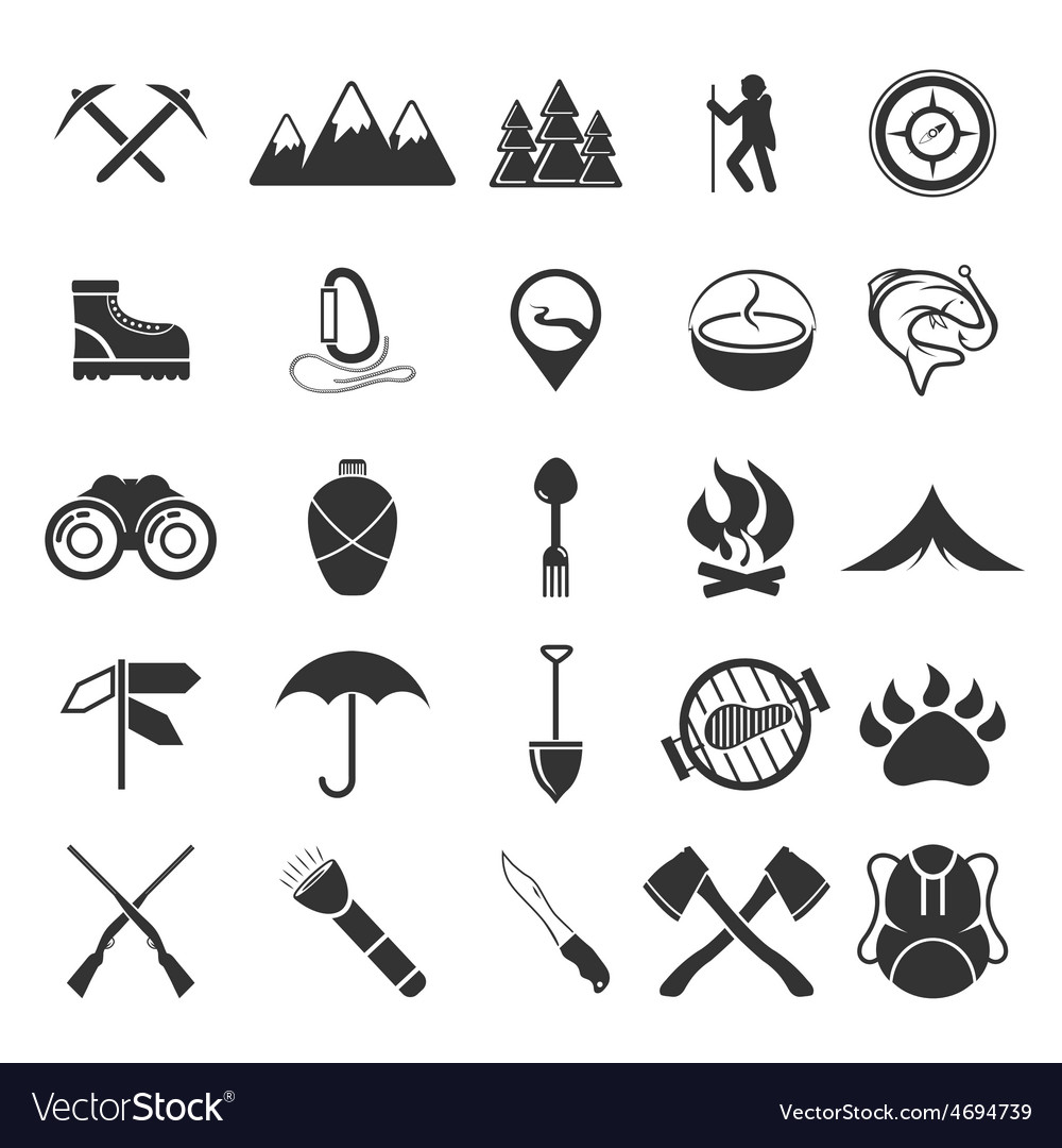 Adventure web icons set flat design vector | Price: 1 Credit (USD $1)