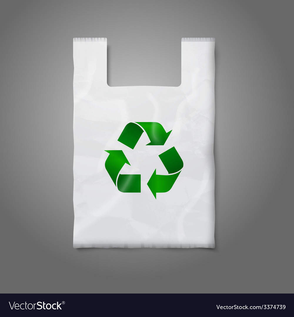 Blank white plastic bag with green recycling sign vector | Price: 3 Credit (USD $3)