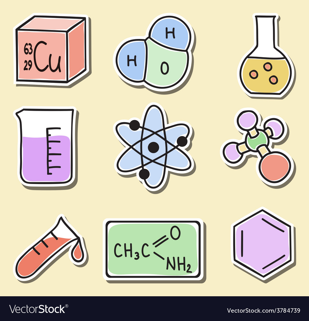 Chemistry icons - stickers vector | Price: 1 Credit (USD $1)