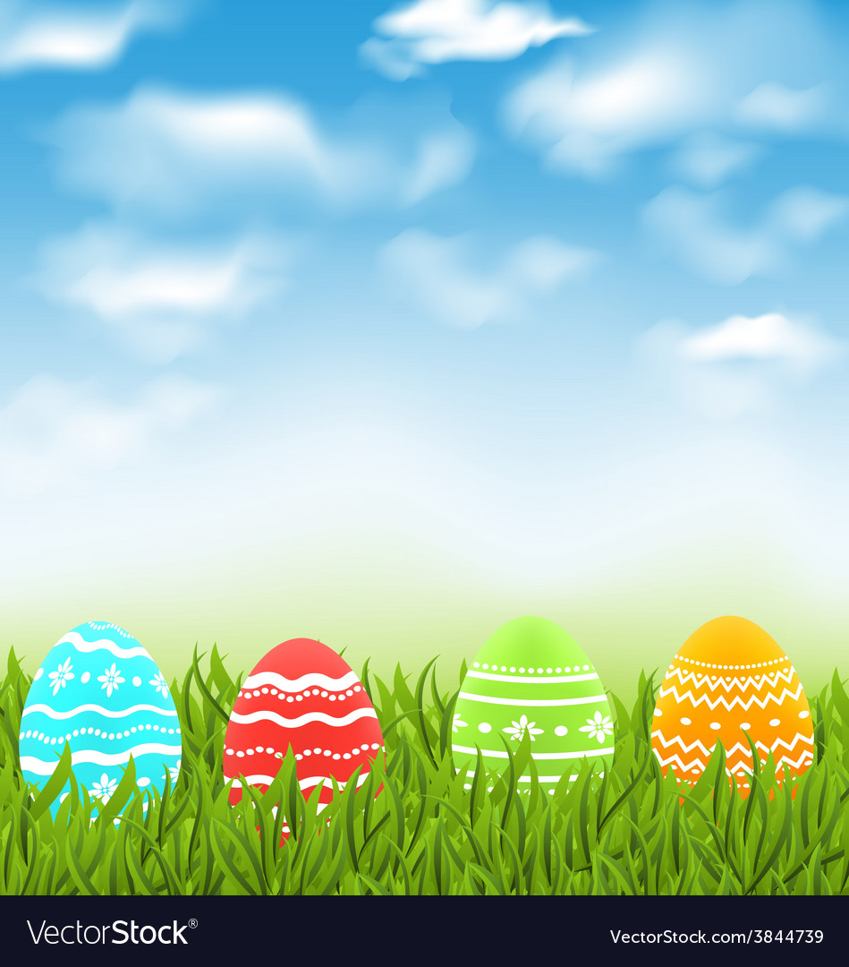 Easter natural landscape with traditional colorful vector | Price: 1 Credit (USD $1)