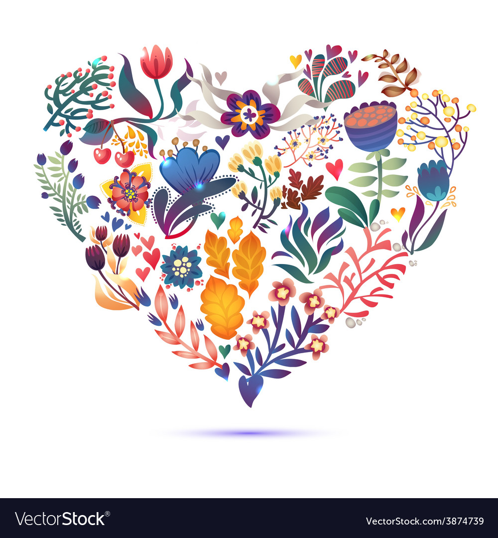 Love card with floral bouquet valentines day with vector | Price: 1 Credit (USD $1)