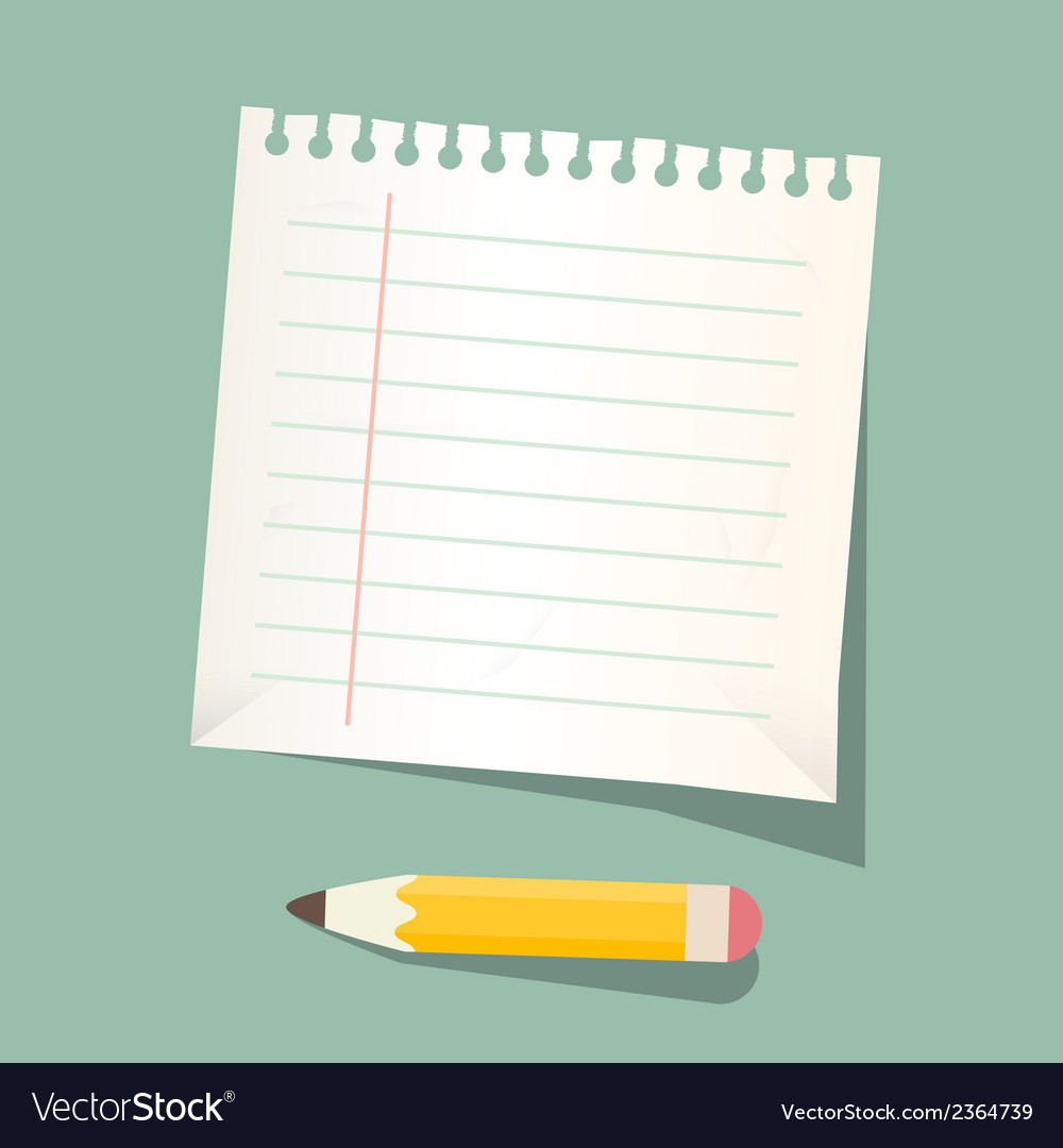 Retro empty white paper sheet with pencil vector | Price: 1 Credit (USD $1)