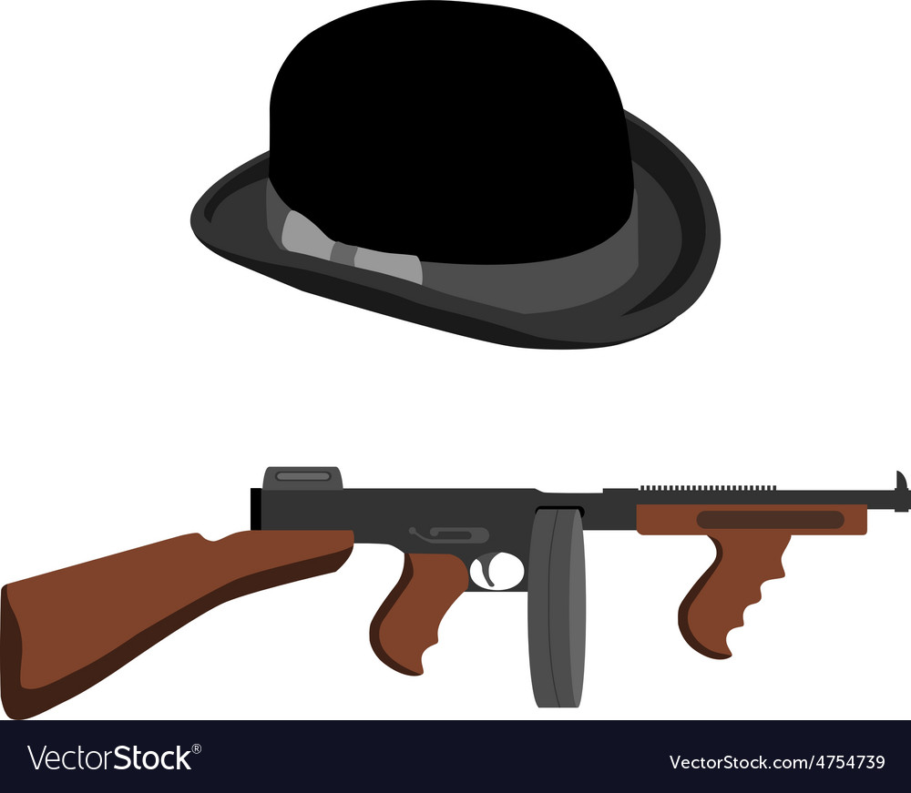Tommy gun and bowler hat vector | Price: 1 Credit (USD $1)