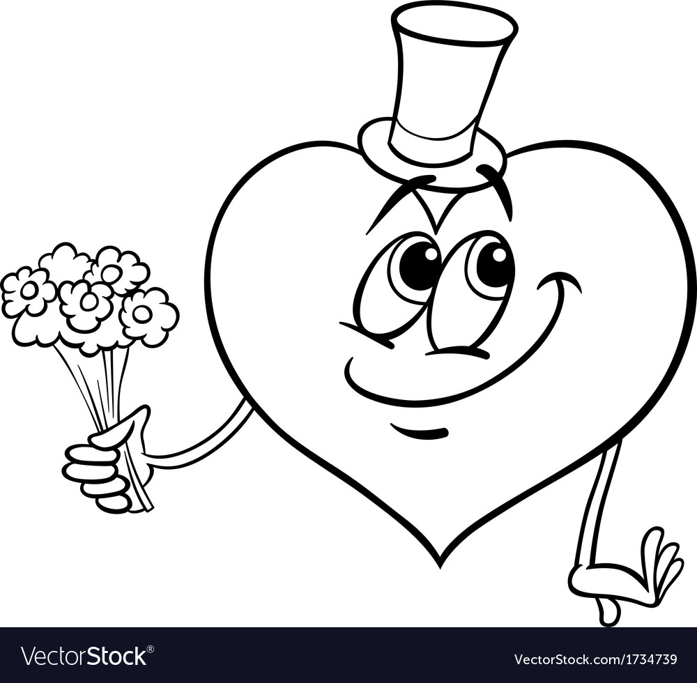Valentine heart with flowers coloring page vector | Price: 1 Credit (USD $1)