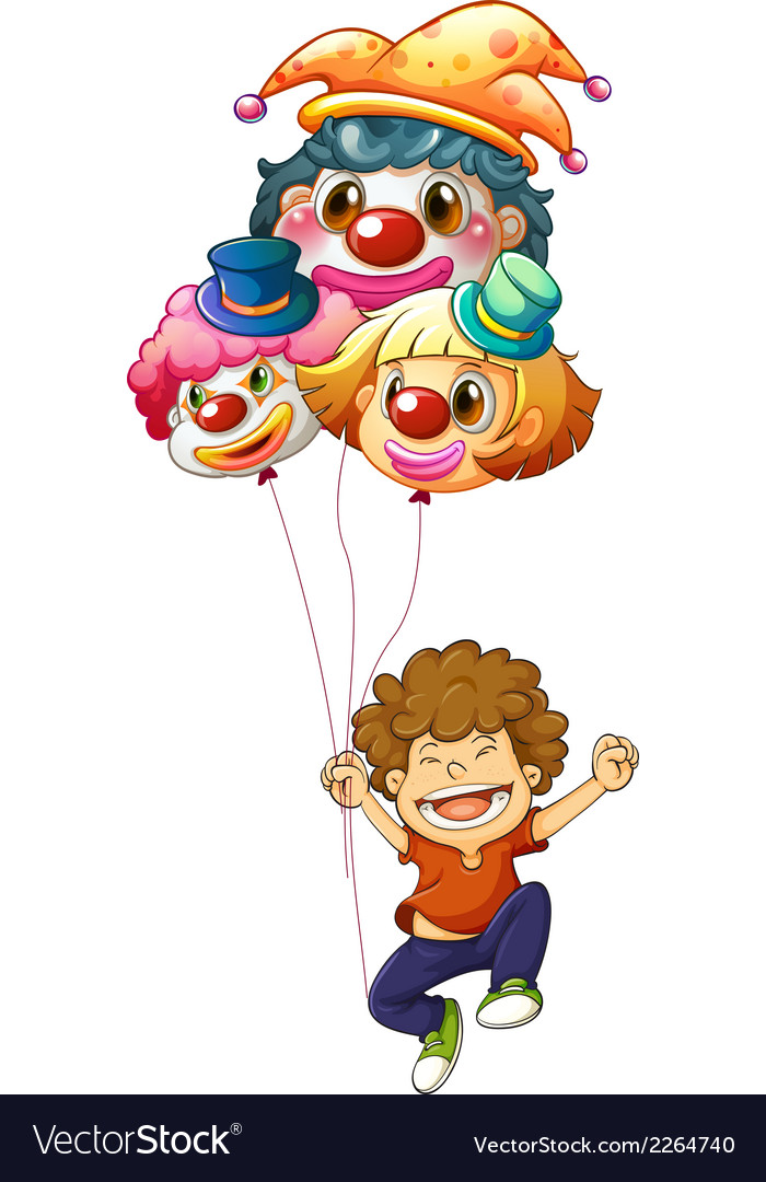 A happy boy with three clown balloons vector | Price: 1 Credit (USD $1)