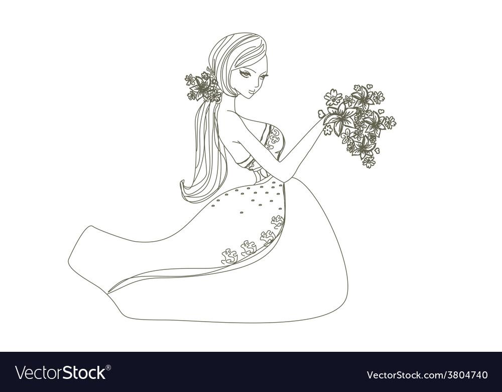 Beautiful bride - doodle vector   Price: 1 Credit (USD $1)