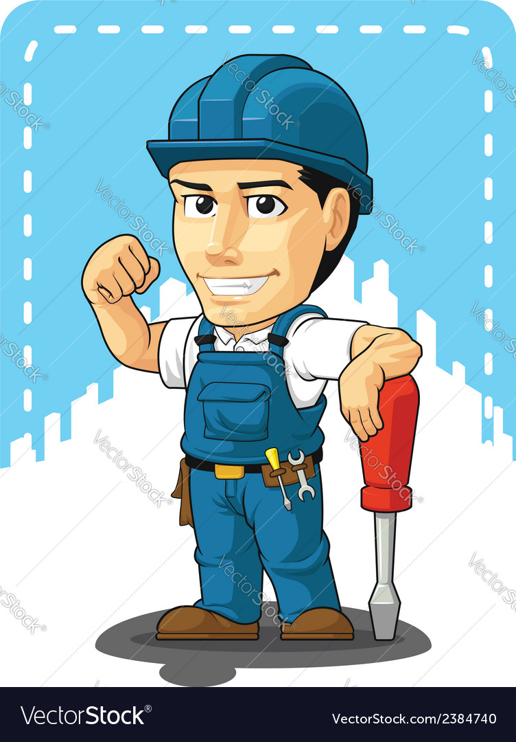 Cartoon of technician or repairman vector | Price: 1 Credit (USD $1)