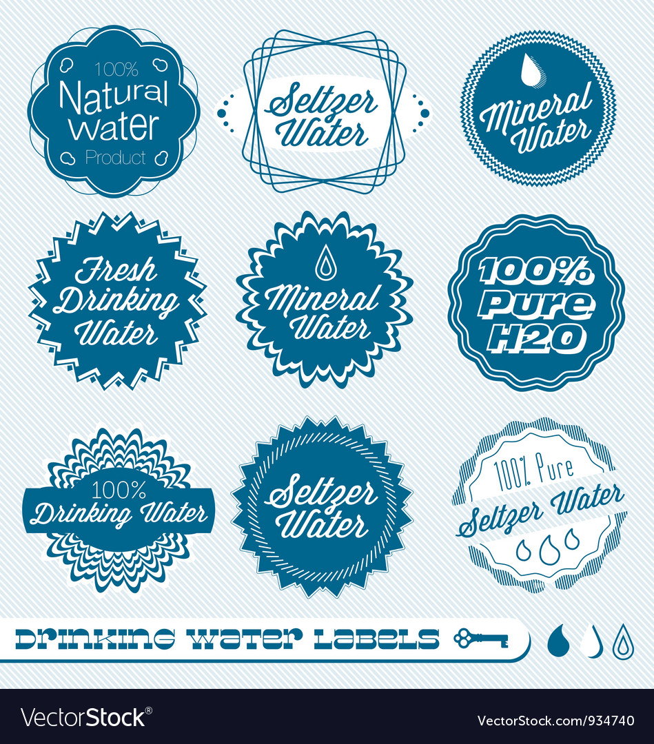 Drinking water labels vector | Price: 1 Credit (USD $1)