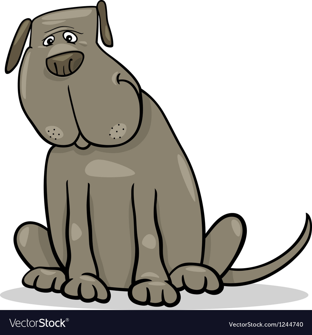 Funny big gray dog cartoon vector | Price: 1 Credit (USD $1)