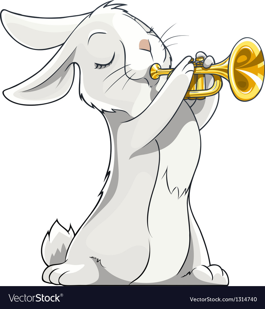 Hare playing trumpet vector | Price: 3 Credit (USD $3)