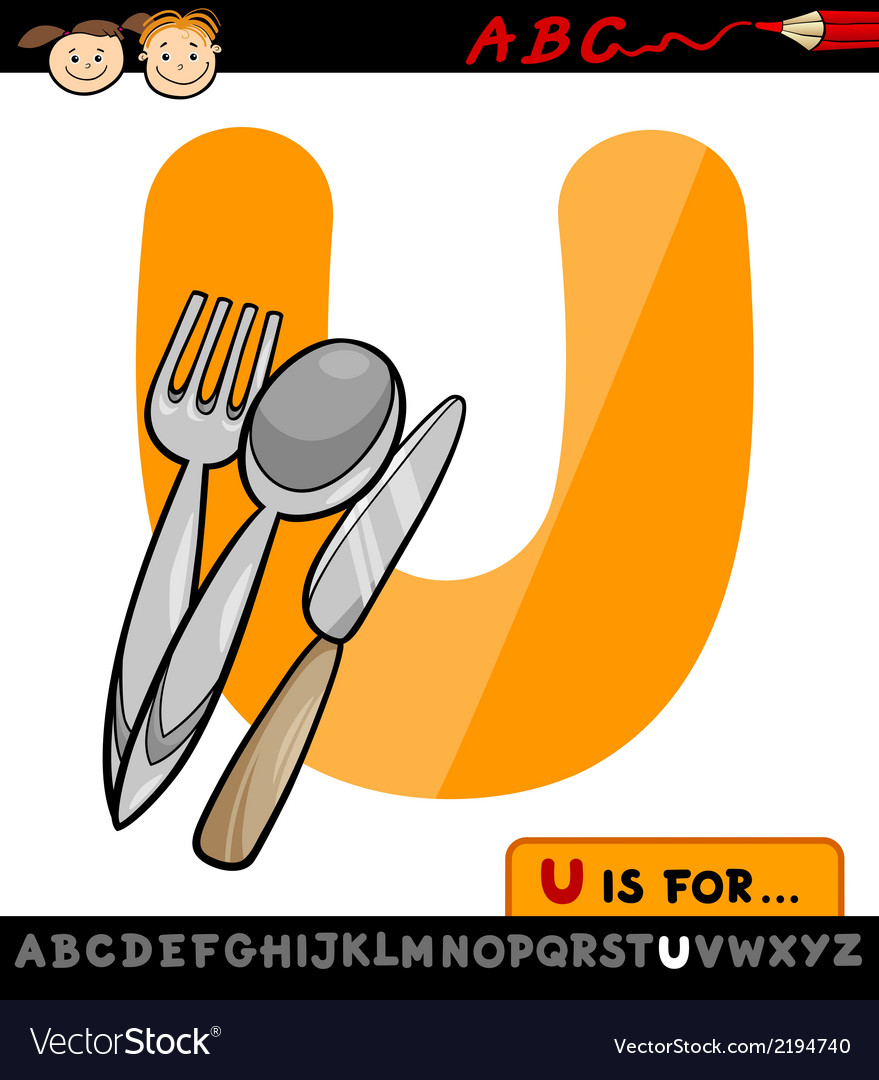 Letter u with utensils cartoon vector | Price: 1 Credit (USD $1)