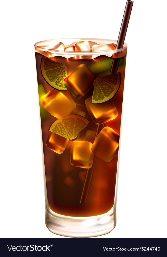 Long island ice tea cocktail realistic vector | Price: 1 Credit (USD $1)
