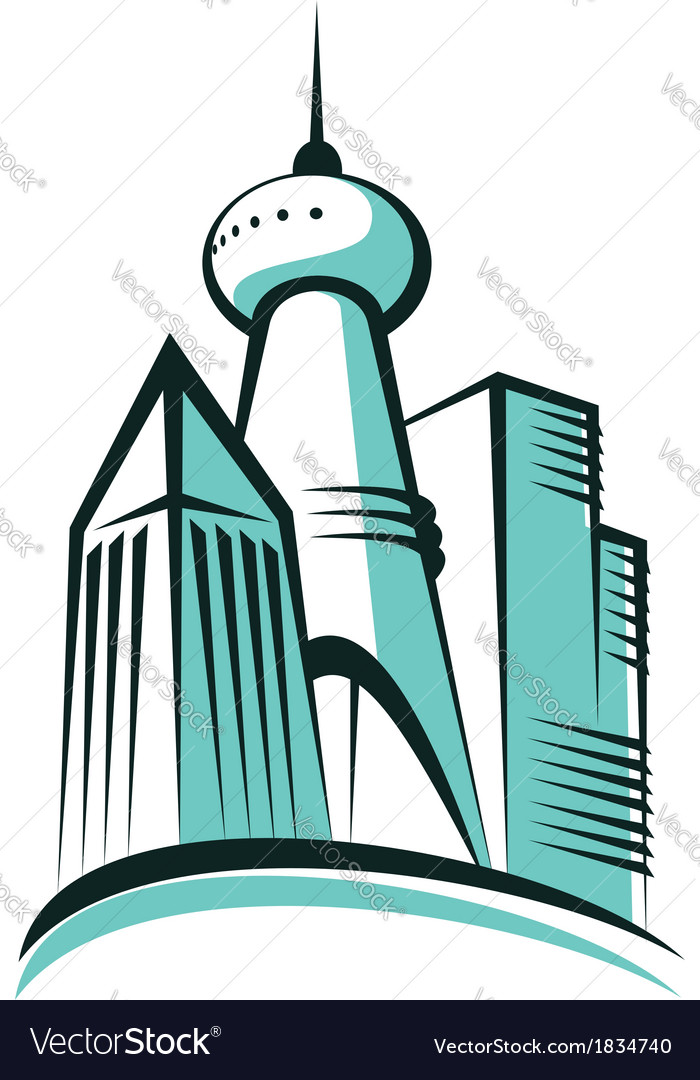 Modern city with a communications tower vector | Price: 1 Credit (USD $1)