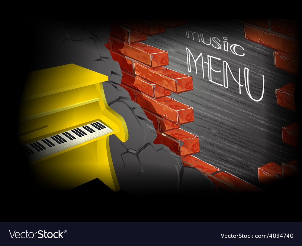 Music menu yellow piano vector | Price: 1 Credit (USD $1)