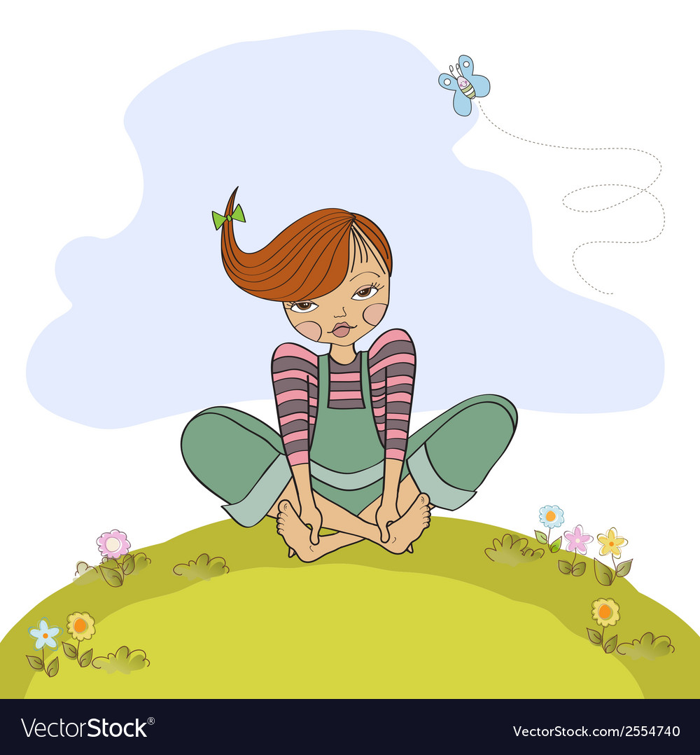 Romantic girl sitting barefoot in the grass vector | Price: 1 Credit (USD $1)