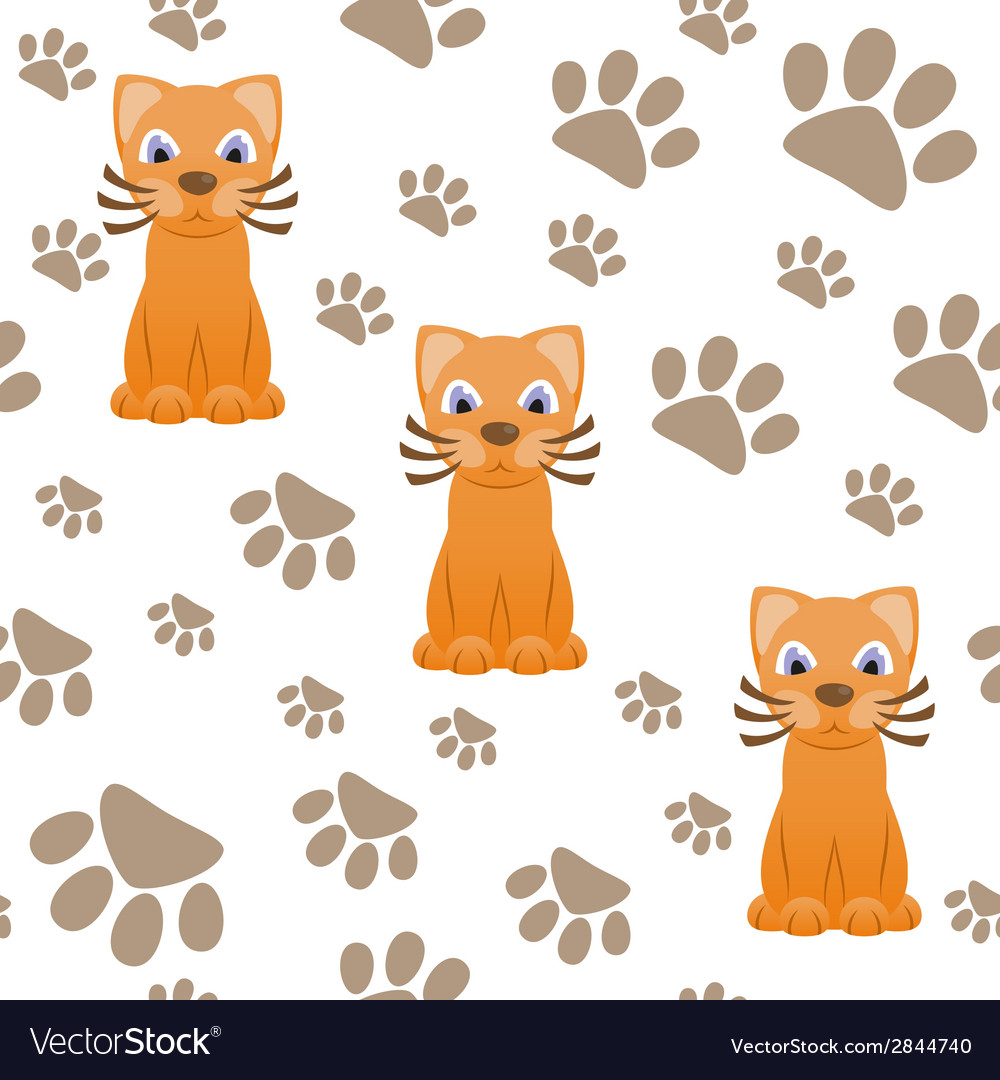 Seamless pattern with cartoon cat and paws vector | Price: 1 Credit (USD $1)