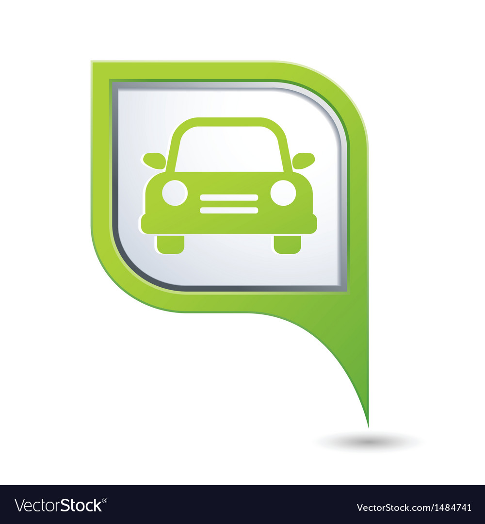 Car icon on green map pointer vector | Price: 1 Credit (USD $1)