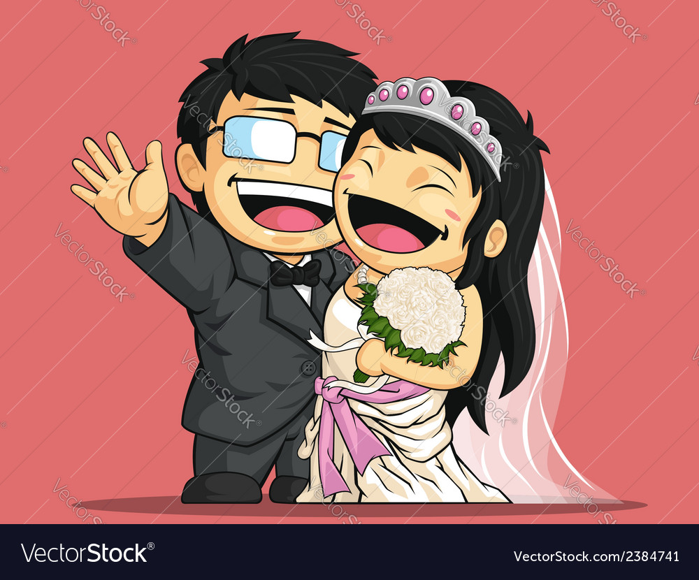 Cartoon of wedding bride groom vector | Price: 1 Credit (USD $1)