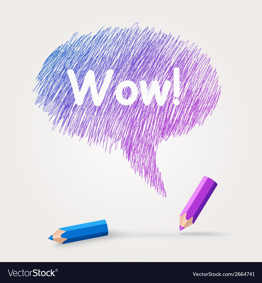 Colored pencils text wow vector | Price: 1 Credit (USD $1)