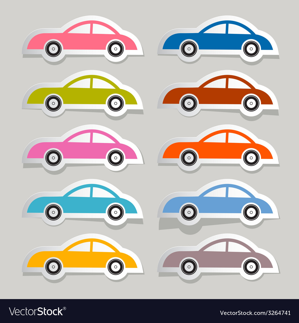 Colorful paper cars set vector | Price: 1 Credit (USD $1)
