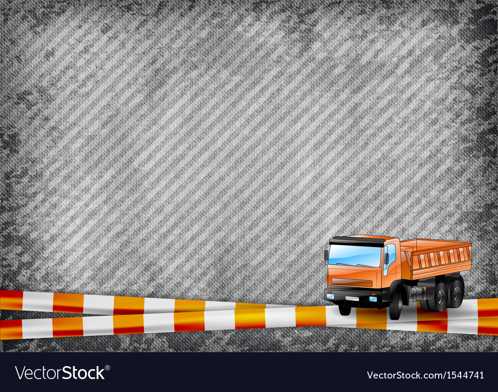Construction texture with orange tape and truck vector | Price: 1 Credit (USD $1)