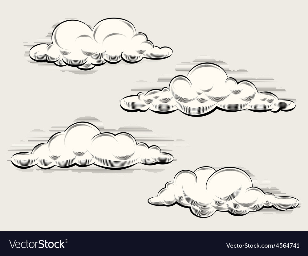 Engraving clouds vector | Price: 1 Credit (USD $1)