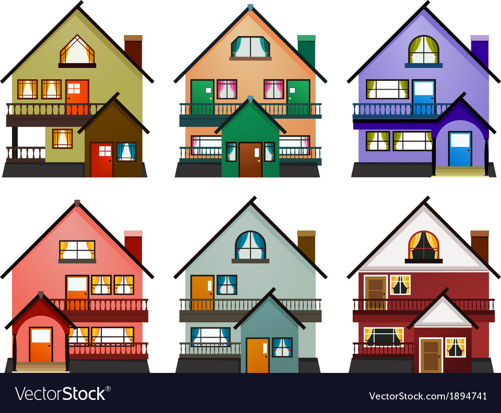 Front view of various modern houses vector | Price: 1 Credit (USD $1)