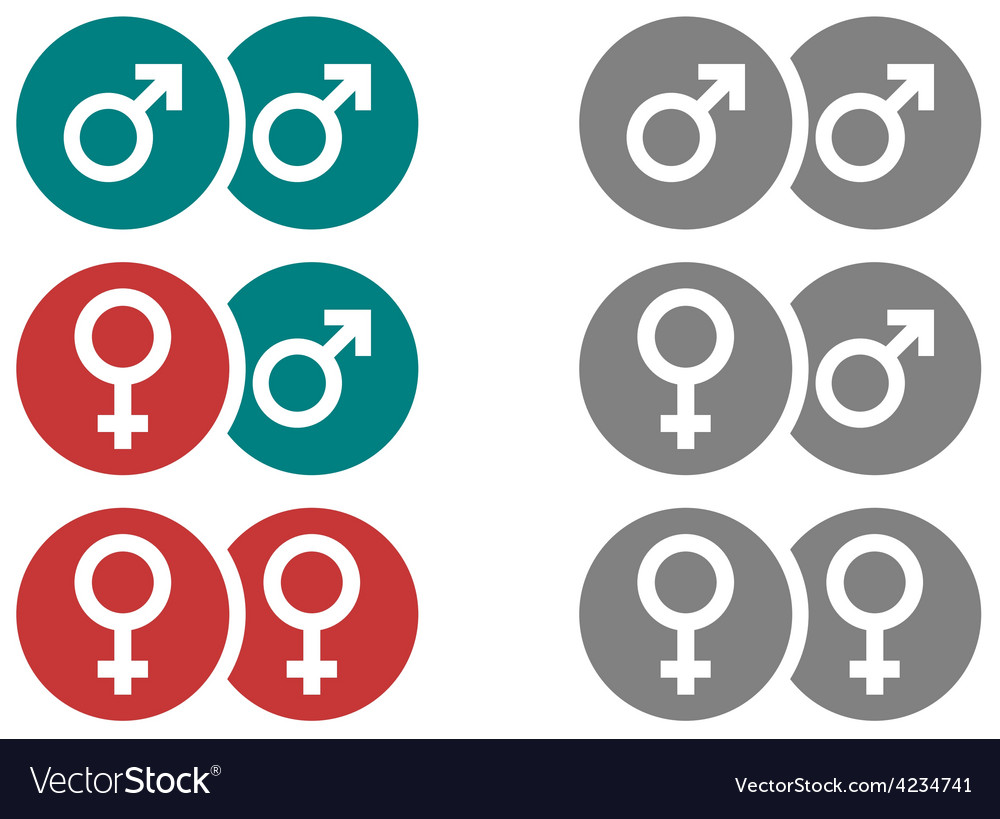 Gender symbols in circles vector | Price: 1 Credit (USD $1)