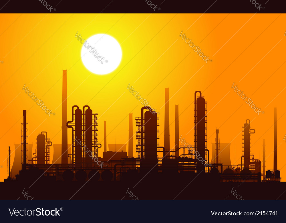 Oil refinery at sunset vector | Price: 1 Credit (USD $1)