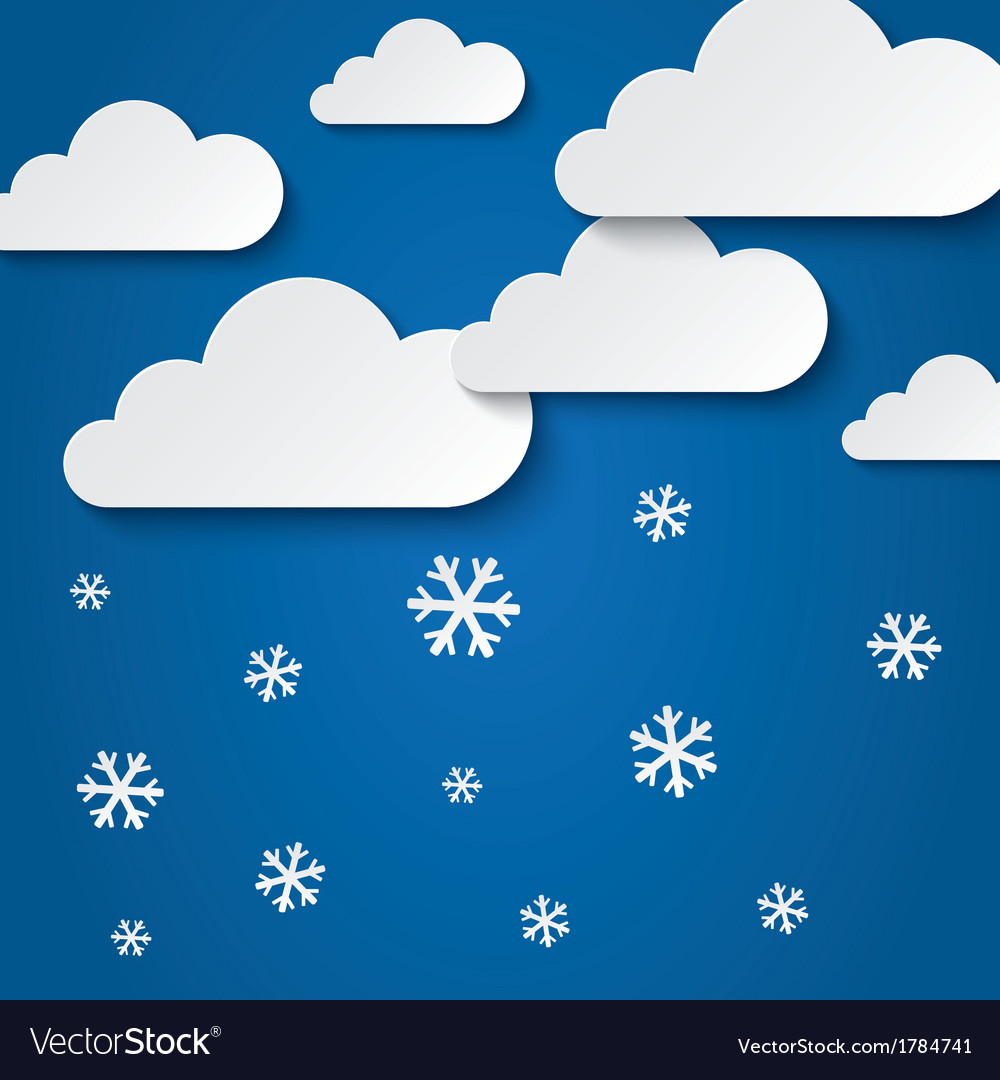 Paper clouds with snowflakes abstract background vector | Price: 1 Credit (USD $1)