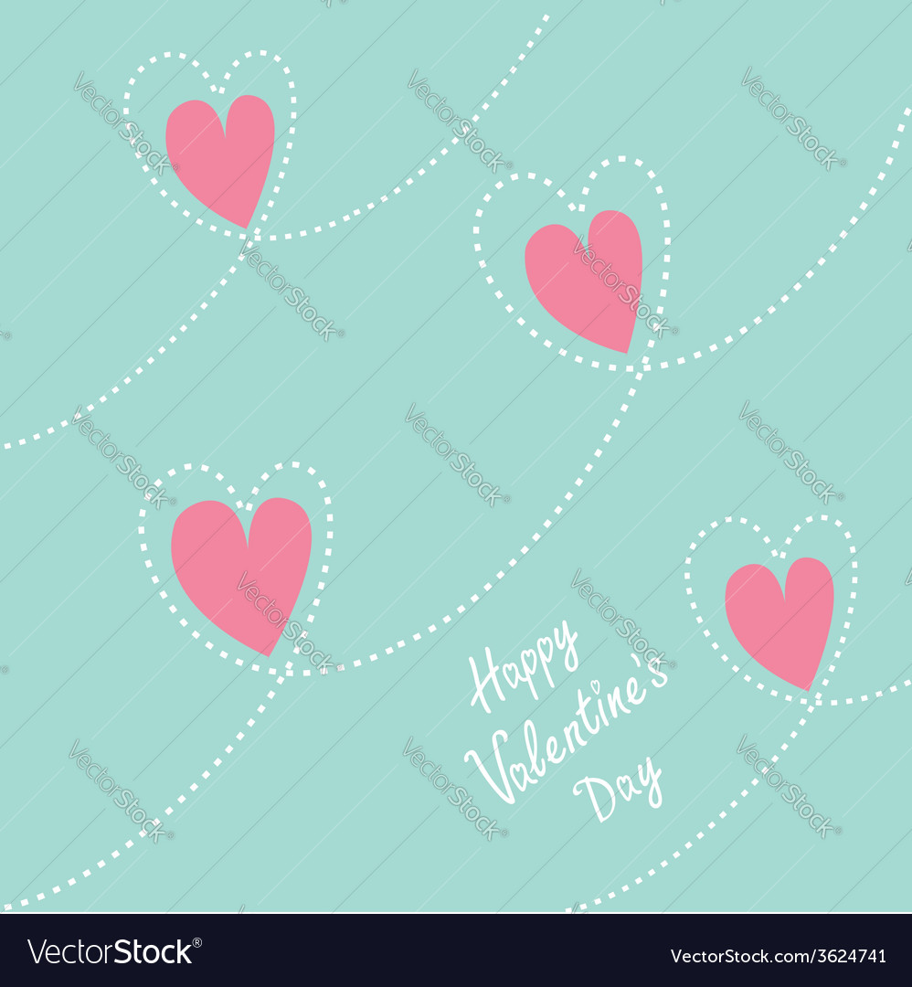 Pink dash line heart background flat design vector | Price: 1 Credit (USD $1)
