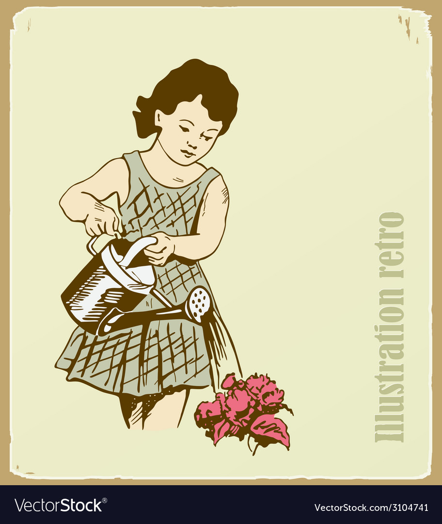 The retro an the girl takes care of flowers vector | Price: 1 Credit (USD $1)