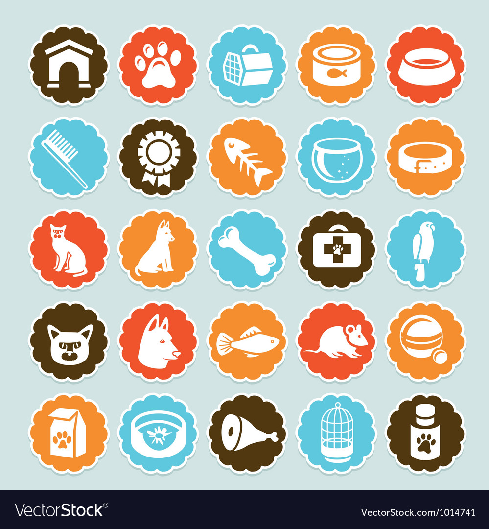 Set of stickers with pet icons vector | Price: 1 Credit (USD $1)