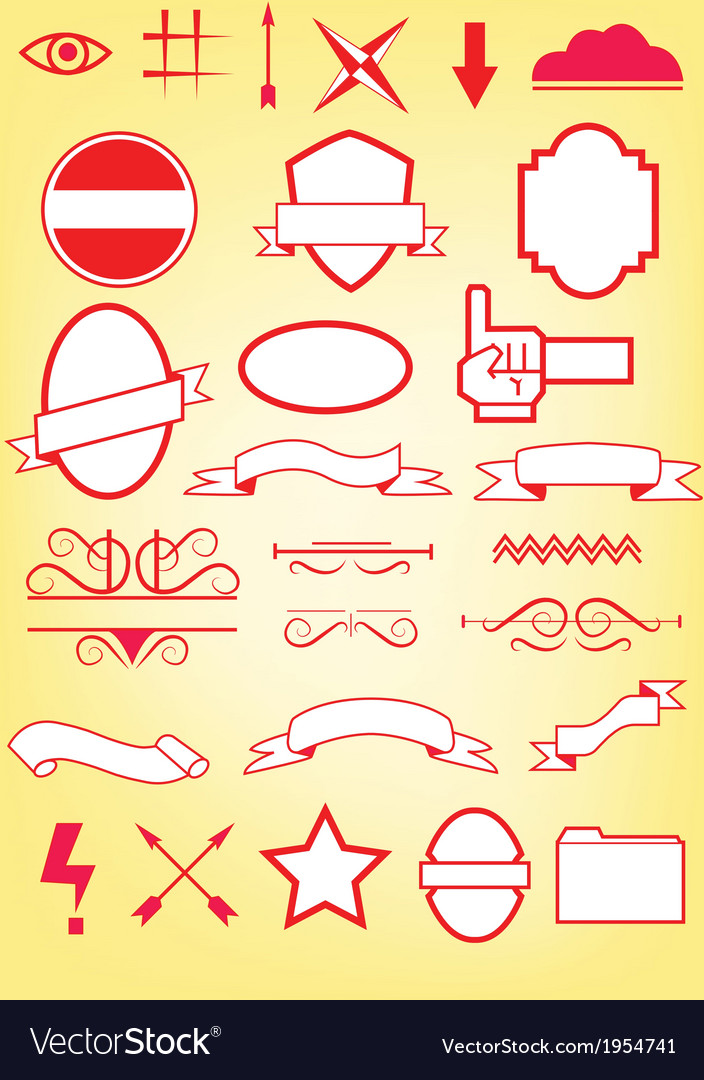 Simple design elements and symbols vector | Price: 1 Credit (USD $1)