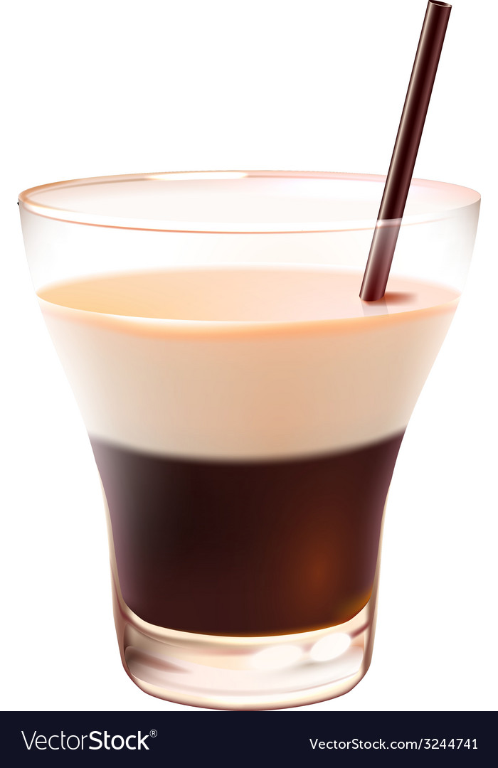 White russian cocktail realistic vector | Price: 1 Credit (USD $1)