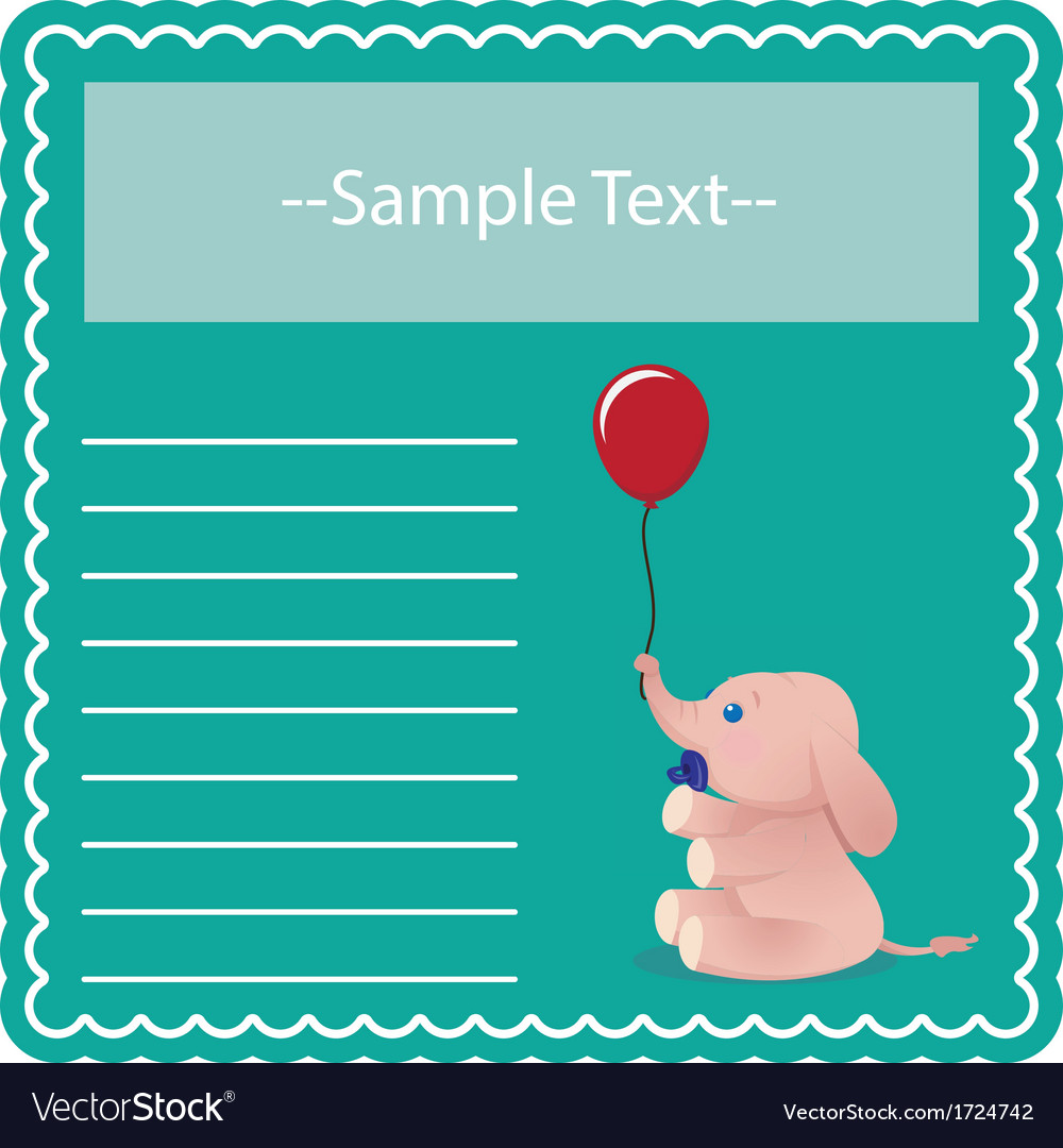 Baby elephant card vector | Price: 1 Credit (USD $1)