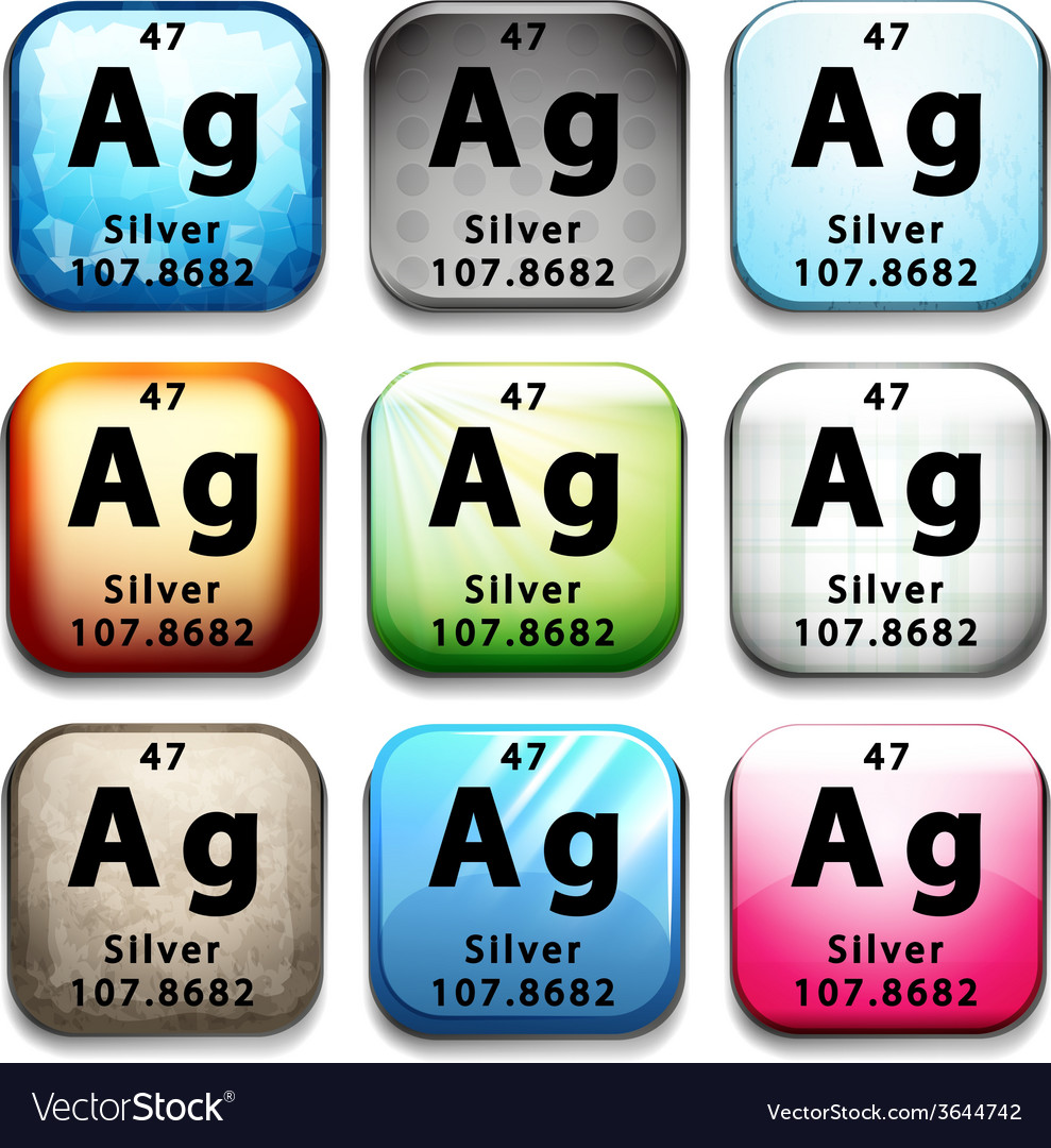 Buttons showing silver and its abbreviation vector | Price: 1 Credit (USD $1)