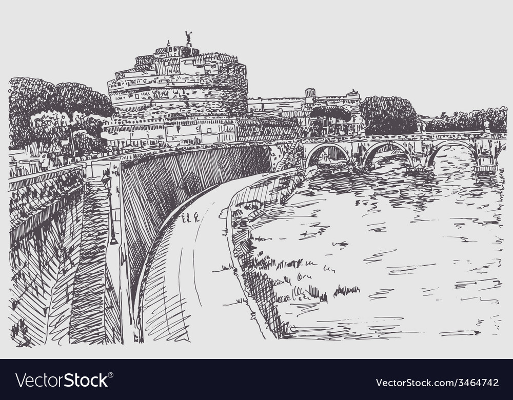 Drawing cityscape with fortress of santangelo in vector | Price: 1 Credit (USD $1)