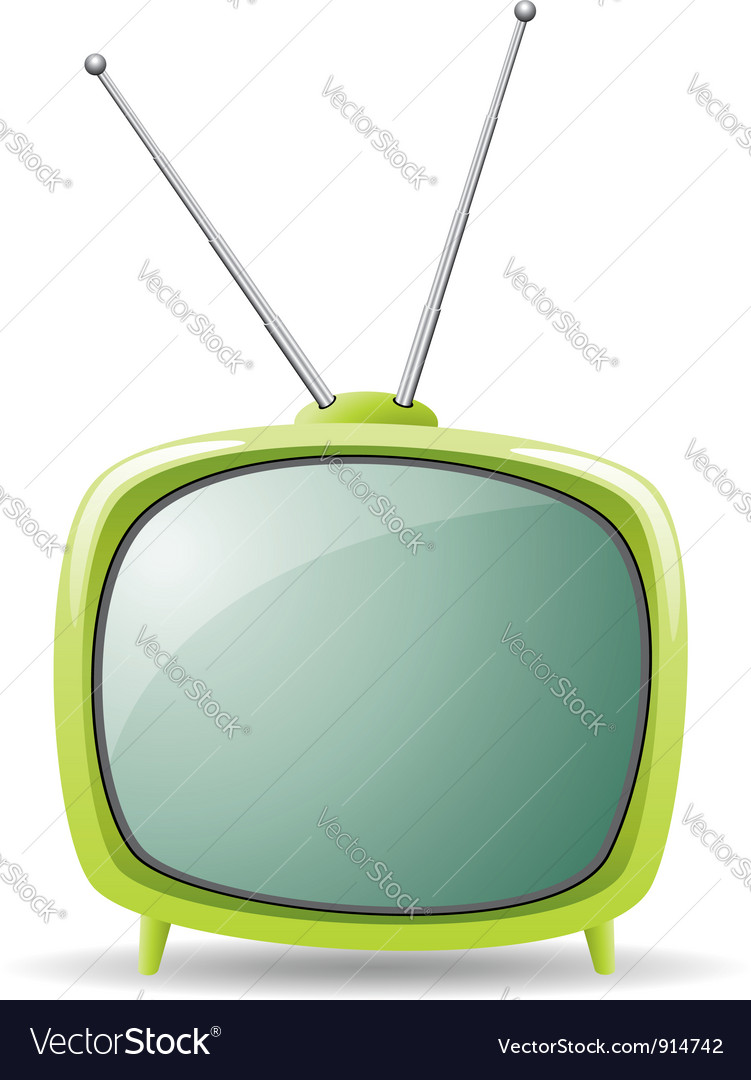 Green retro tv set vector | Price: 1 Credit (USD $1)