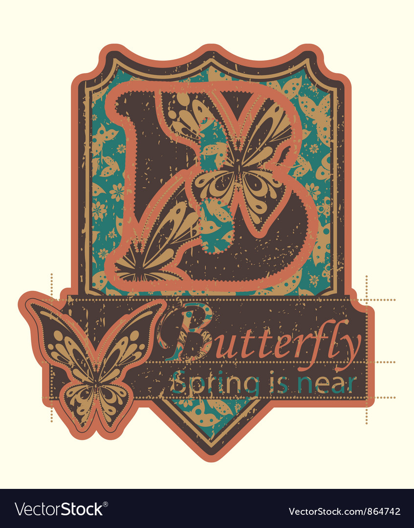 Grunge label with butterflies vector | Price: 1 Credit (USD $1)