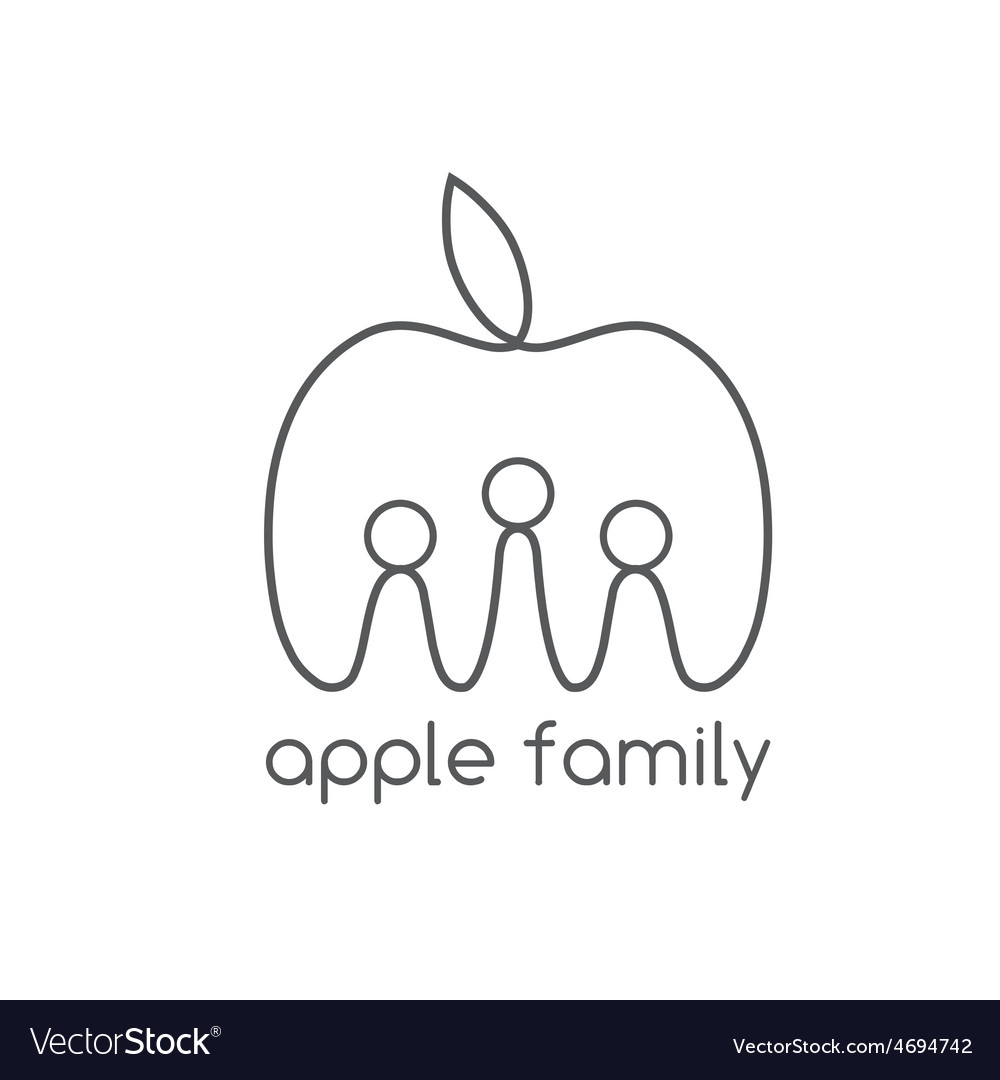 Happy apple family design template vector | Price: 1 Credit (USD $1)