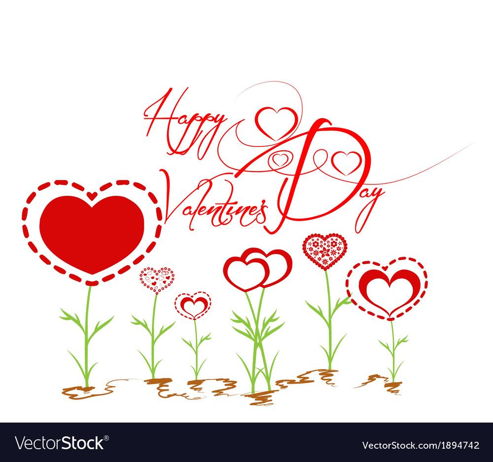 Happy valentines with heart garden vector   Price: 1 Credit (USD $1)