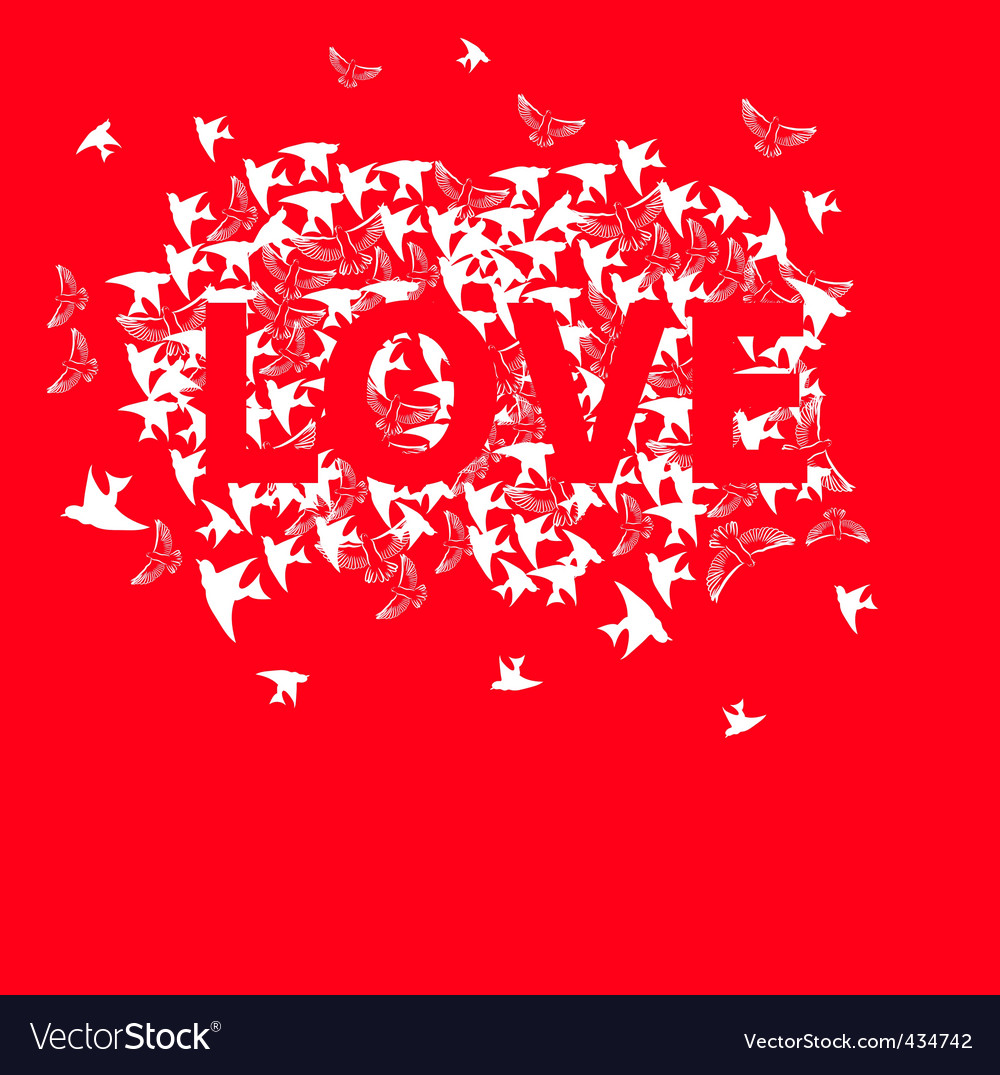 Inscription love with bird vector | Price: 1 Credit (USD $1)