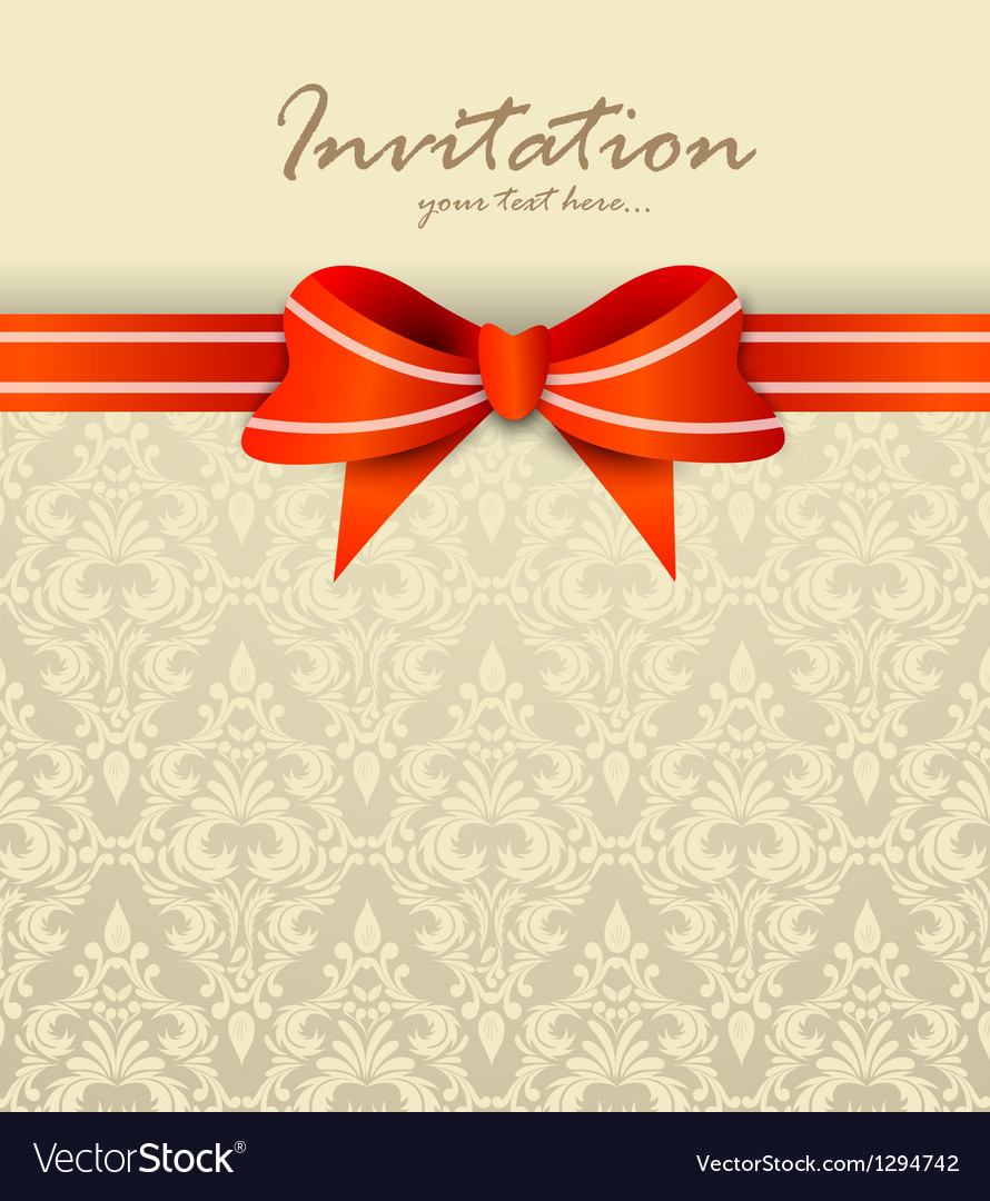 Invitation card with bow vector | Price: 1 Credit (USD $1)