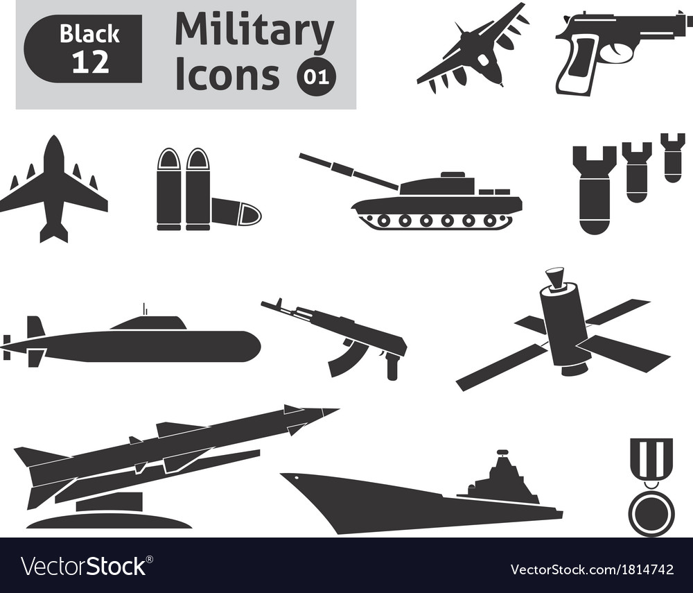 Military icons vector | Price: 1 Credit (USD $1)