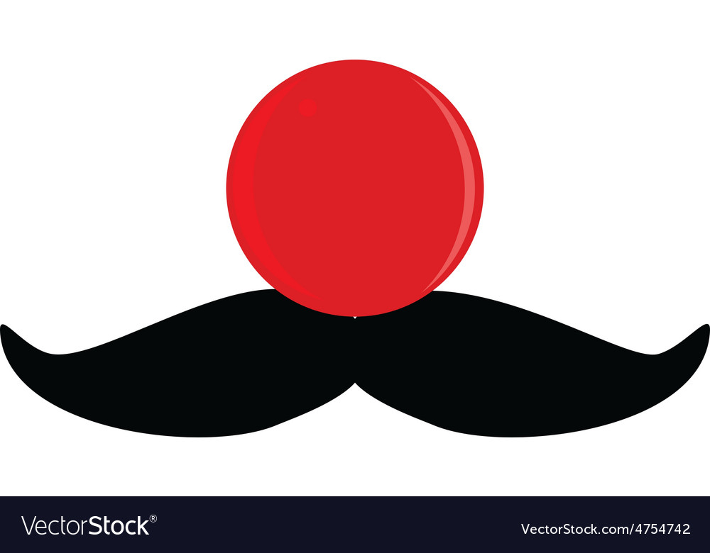 Red nose with mustache vector | Price: 1 Credit (USD $1)