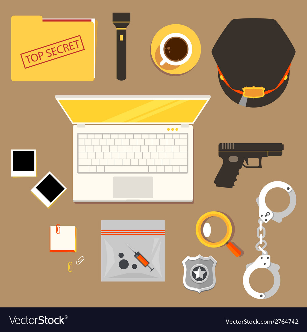 Workplace of police officer policeman police c vector | Price: 1 Credit (USD $1)